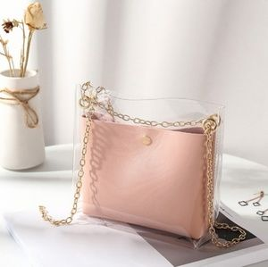 Transparent Clear Hand Bag Crossbody 2 in 1